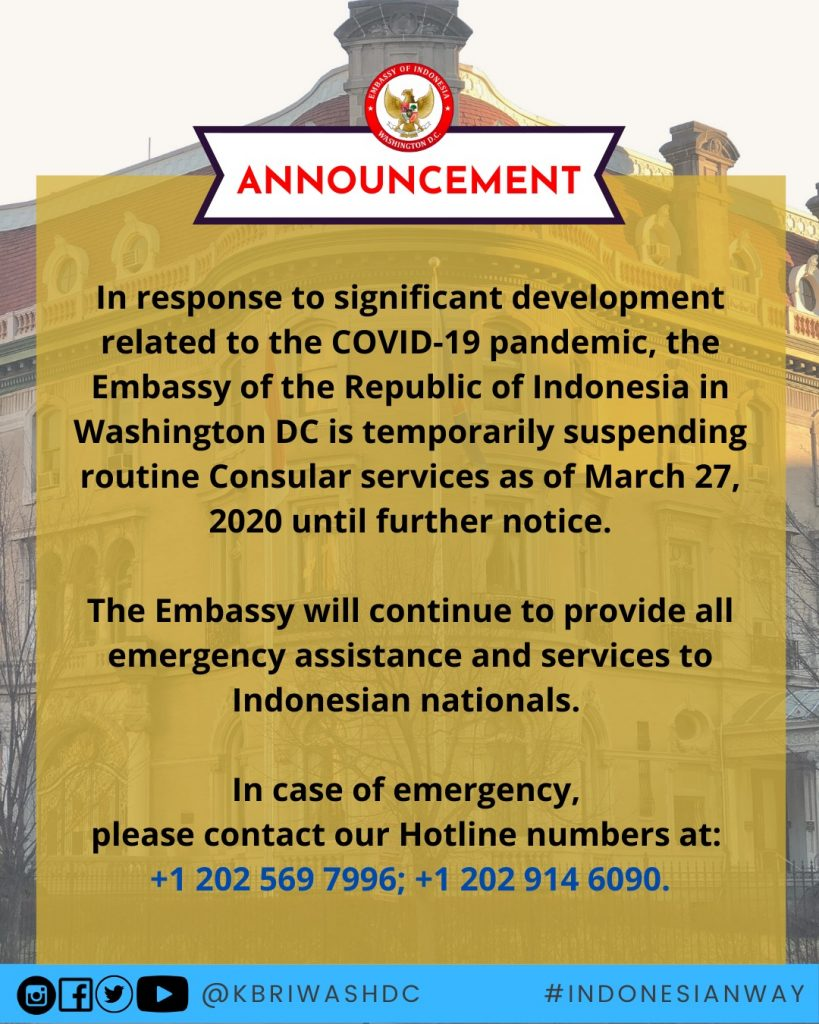 Covid 19 Embassy Of The Republic Of Indonesia Washington D C