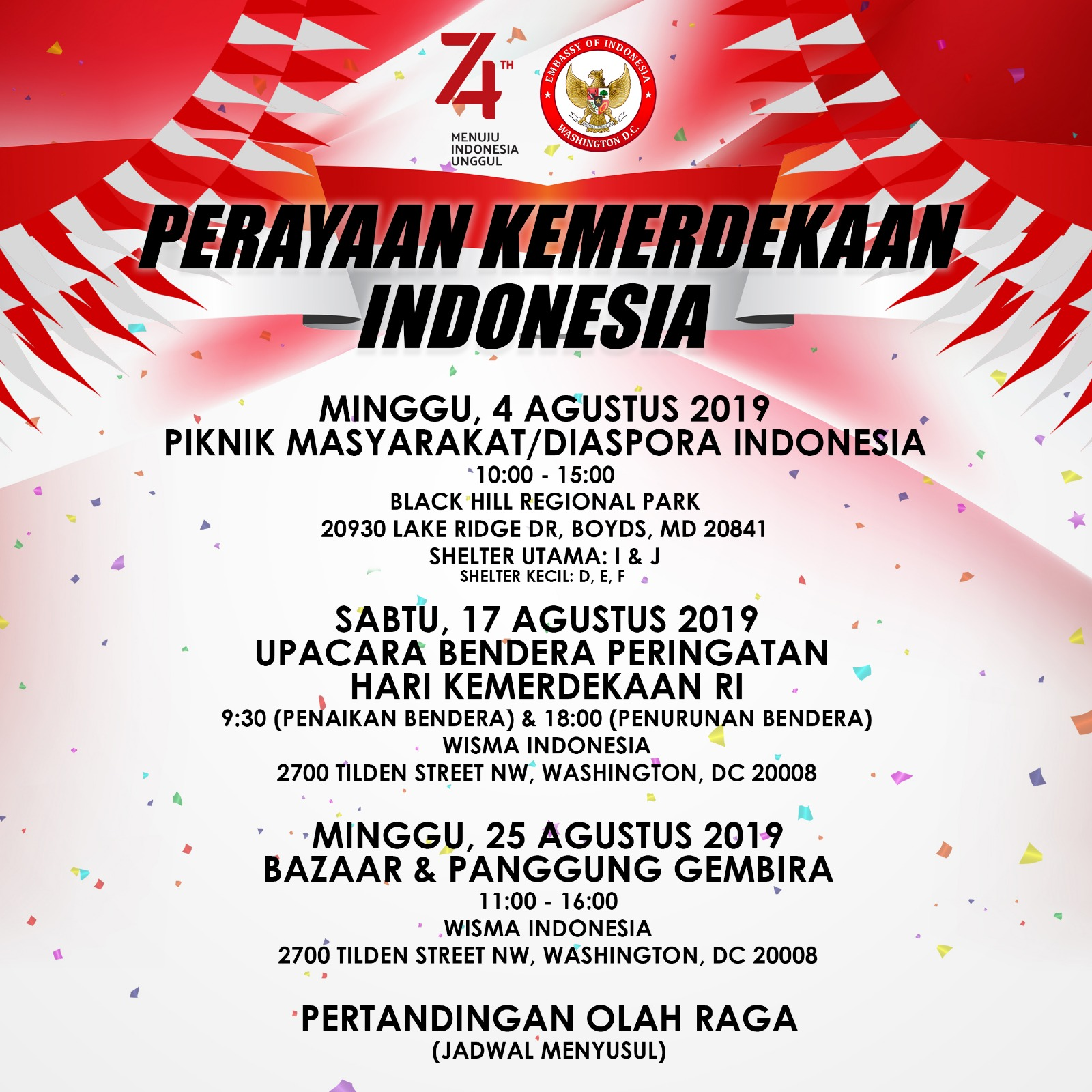 Pertandingan Futsal Perayaan HUT ke-74 RI – Embassy of the Republic of Indonesia | Washington D.C.